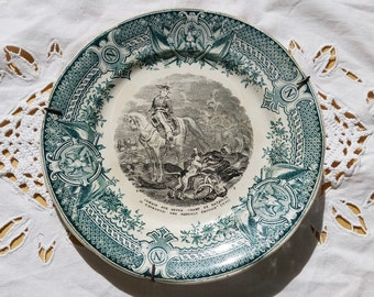 French Antique Digoin  Sarreguemines  story plate with Napoleon Bonaparte,talking plate,transferware Plate