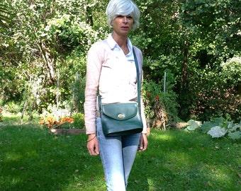 French Vintage  green leather  shoulder Bag   Cleo Made in France