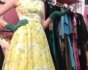 1950s vintage yellow and green prom dress