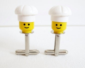 Chef Cufflinks Cuff Links LEGO Cook Wedding Groom Groomsmen Gift