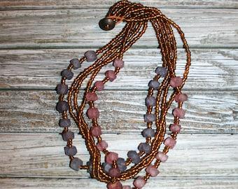 Multi Strand Beaded Necklace Handmade Dusty Purple Pink Amber Chunky Bead Necklace Beaded Jewelry