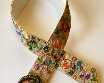 Belt Embroidered Boho Gypsy Flowers in  Turquoise, Purple, Green, Orange