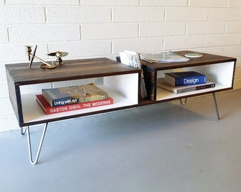 "Mid Century Modern ""Split"" Coffee Table, Wood Console, Hairpin Legs, Entertainment, Media Cabinet, Stand, Storage, Shelf"
