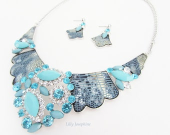 Decorative Turquoise Blue Necklace Set, Blue Crystal Necklace, Blue and Silver Necklace, Blue Bib Necklace and Earrings, Wedding Necklace