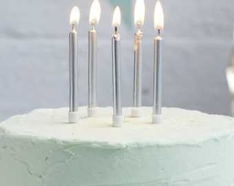 Silver Birthday Candles I 24 Pack I Silver Candles I Metallic Candles I Silver Celebration Candles
