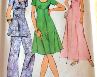 70s Misses Dress  or Top and Pants, Simplicity 5293 Dress Sewing pattern, Size 18 bust 40, 1972 clothing, Epsteam