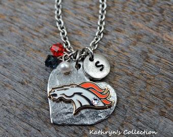 Denver Broncos Necklace, Broncos Jewelry, Broncos Fan Gift