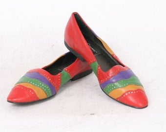 Womens AU 6.5 US 7 M Rainbow Red Green Purple Yellow Leather Casual Loafers Slip On Flats Vintage Shoes 80s l.j. Simone