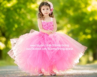 Pink Couture Flower Girl Dress, Pink Tutu Dress, Couture Tutu Dress, Couture Flower Girl Dress, Pink Couture Tutu Dress, Pink Pageant Dress
