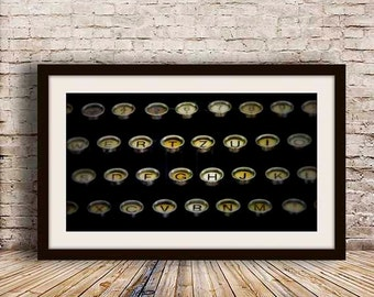 Gift for Him, Vintage Italian Typewriter Keys, Office Wall Art, Home Office Decor, Library Decor, Typography, Black, Gold