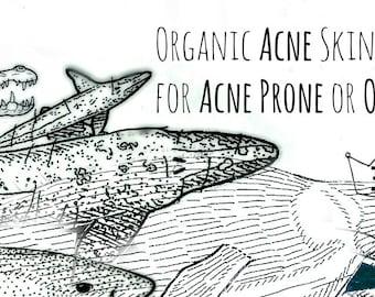 Organic Acne Treatment Set - Acne Serum - Acne Toner - Acne Mask - Acne Wash - Natural Acne Care