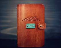 Personalized Leather journal, Notebook, Travel Diary, Journal, Sketchbook, Brown stain, wanderlust Mountains, handmade, Custom name initials