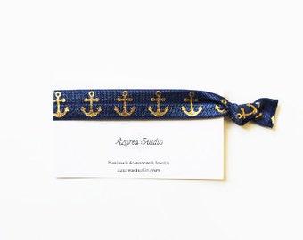 Navy Blue Gold Anchor Hair Tie or Bracelet