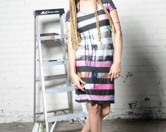 Madchester Dress - Cap Sleeve Knee Length Casual Dress with Ombre Neon Lamppost Print and Graduated Black Wide Stripes