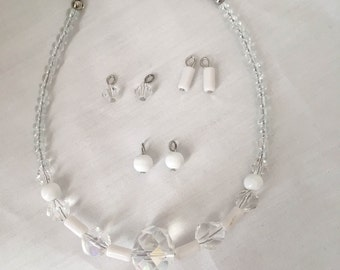 American Girl Doll White and Clear Necklace and Earrings