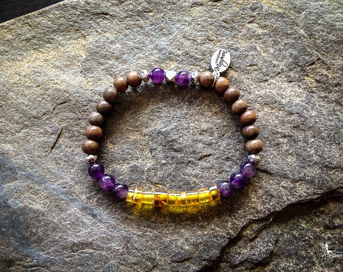 Yoga Intention bracelet Mala inspired boho jewelry - Amethyst and Amber 6mm - by Mariposa Zen