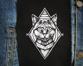 Third Eye Cat  Patch | Punk Patches | Horror | Black