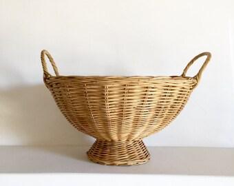 French Vintage Basket - Handwoven Basket Bowl - Vintage Fruit Basket - Pedestal Wicker Fruit Basket - Display basket