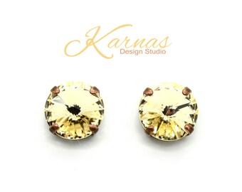LIGHT SILK 12mm Rivoli Stud or Post Earrings Made With Swarovski Elements *Pick Your Finish *Karnas Design Studio *Free Shipping*