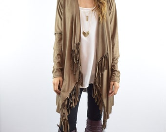 Suede Fringe Open Cardigan with Knit Back