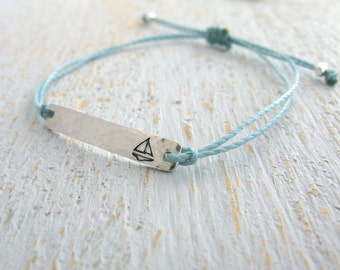 sailboat bracelet, sailing bracelet, sailboat string bracelet, adjustable silver sailboat bracelet, stamped sailboat bracelet