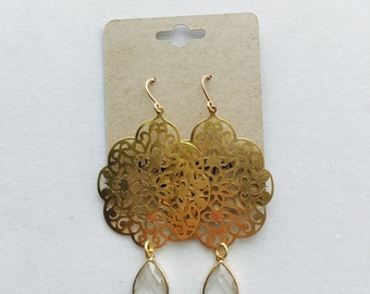 14kt gold filled earrings with gemstones