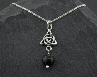 Black Onyx Celtic Scottish trinity knot sterling silver necklace. Pagan wiccan jewelry. Halloween. Gothic. Made in Scotland