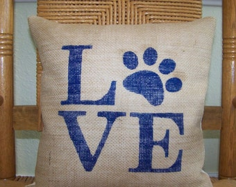 Puppy pillow cover, Love paw print pillow cover, Dog pillow, Burlap pillow, Pet Pillow Cover, stenciled pillow, FREE SHIPPING!