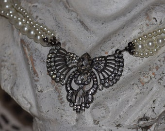 BRIDE shabby chic necklace with rhinestone crystal beads