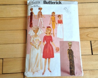 Butterick 3419 Pattern for Vintage Style Doll Clothes for 11 1/2 Inch Fashion Doll like Barbie, Wedding Dress, Evening Dress in 60s Style