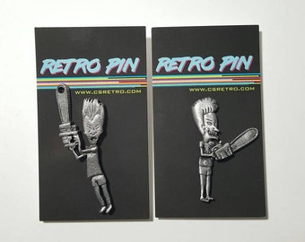 Beavis and Butthead Chainsaw Metal Clutch Hat Backpack Flair Vest Pins Set 1993 MTV Studios buttons