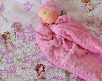baby gift - soft toys -Waldorf first doll - knot doll -1st birthday gift -Pink minky -newborn gift