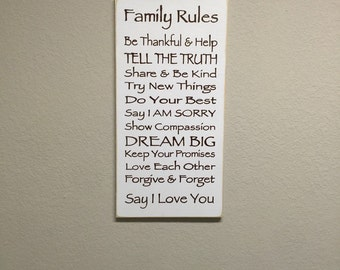 FREE SHIPPING! Family Rules Sign - Primitive Signs - Primitive Wood Signs - Primitive Wall Decor - Wood Signs - Primitive Family Rules