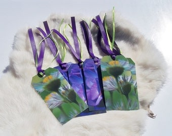 LARGE FLORAL Gift Tags Set of 12 Purple and Green Gift Tags Flower Gift Tags