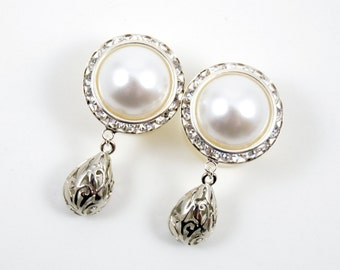 7/8 3/4 1 PAIR White Pearl Silver Dangle Hanging Ear Plugs Gauges Tunnels or Studs Made With SWAROVSKI Elements Wedding Bridal