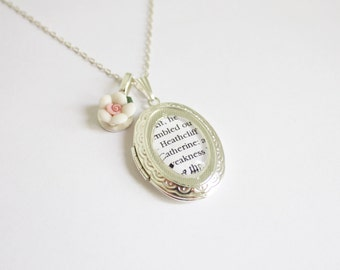 Wuthering Heights / Jane Eyre book page locket. Emily. Charlotte. Brontë. Rochester. Heathcliff. Booklovers.