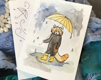 Red Panda Watercolor- Card and Envelope Set