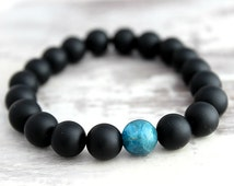 Mens Bracelet Boyfriend Gift Blue Apatite Matte Black Onyx Bracelet Mens Beaded Bracelet Mens Gift for Him Boyfriend Bracelet for Him