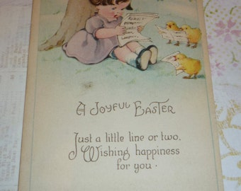 Sweet Little Girl Singing Along With Baby Chicks Vintage Easter Postcard