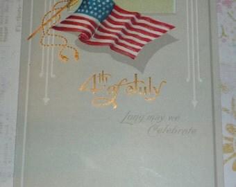 4th of July American Flag NASH Antique Postcard