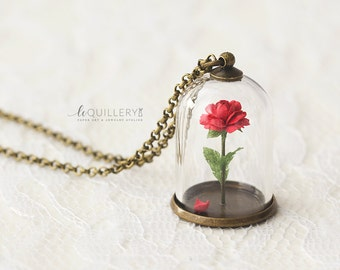 Handmade Red Rose Jewelry. Romantic Necklace. Paper Terrarium Necklace. Valentine's Gift. Anniversary Gift.