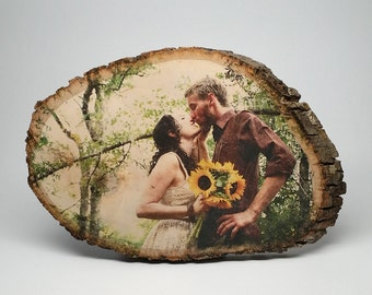 Wedding Gift Personalized Engagement Photo On Wood For Couple