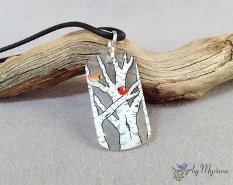 Cardinals in birch trees pendant  - hand drawn male and female cardinals on clear background . Birch tree necklace . Cardinal necklace