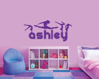 Vinyl Gymnastic Wall Decal Personalized, Girls Wall Art, Girls Room Decor, Gymnastics Decal