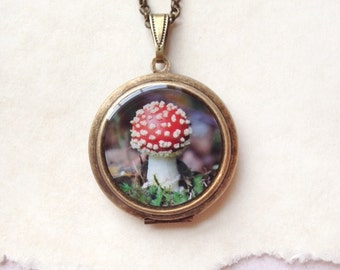Fly Agaric Mushroom Locket - Red Magic - Brass Round Woodland Necklace