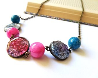 Glass Bubbles Necklace with Agate, 3D Necklaces, Hot Pink and Blue Necklace, Fused Glass Necklace, Cracked Glass Jewelry, Aqua Blue Necklace