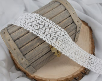3.2cm White Plaid Lace - 1 yard 5 yards or 10 yards