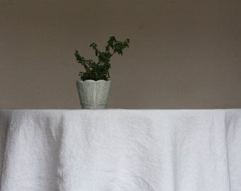Round Linen Tablecloth - Diameter up to 114 inches - Stonewashed - Off-white / Ecru - Handmade in Lithuania - Eco-friendly - Made to order
