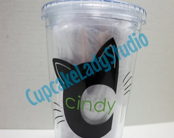 Cat Initial Acrylic Cup