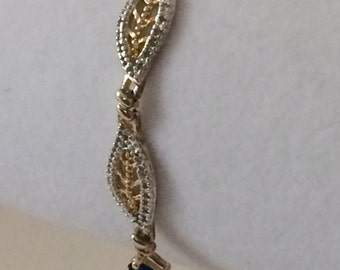 Sterling Silver Two Tone With Blue Rhinestones 7 1/4""
